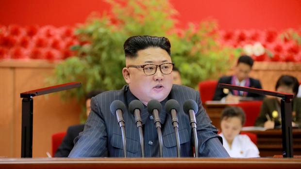 El líder de Corea del Norte, Kim Jong-un, durante un discurso a militantes del partido único norcoreano