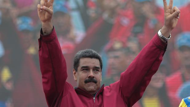 Nicolás Maduro, durante una manifestación en apoyo a su gobierno ayer jueves