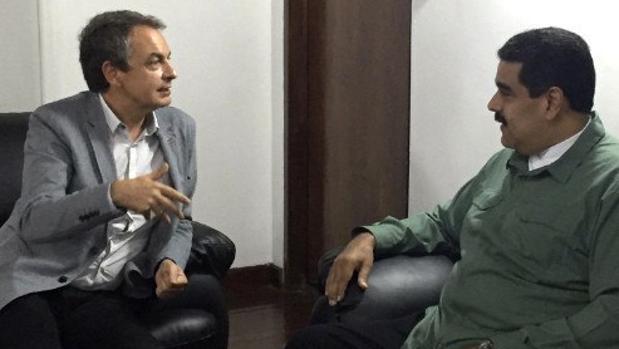 Última imagen conocida de los encuentros entre Rodríguez Zapatero y Nicolás Maduro, difundida el pasado 11 de septiembre a través de la cuenta de Twitter de la canciller venezolana, Delcy Rodríguez