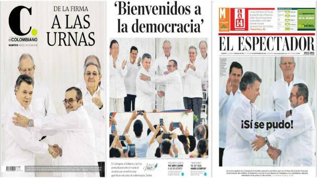 La prensa colombiana celebra la firma de la paz entre el Gobierno y las FARC