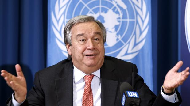 Antonio Guterres, durante una cumbre de la ONU en Ginebra como alto comisionado de Naciones Unidas para los Refugiado