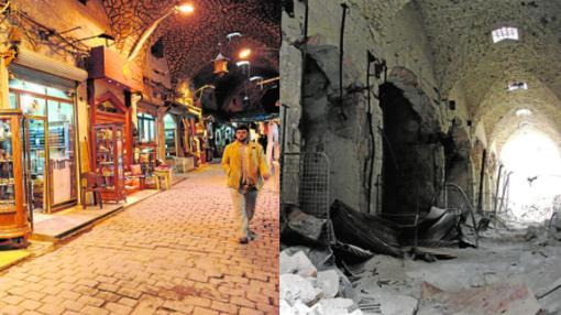 Zoco cubierto Al-Madina. El mercado histórico cubierto más grande el mundo sufrió un incendio en septiembre de 2012 durante la batalla de Alepo