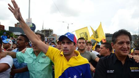 Henrique Capriles, en la protesta de este miércoles en Caracas