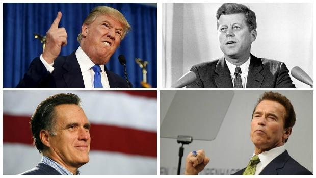 De izquierda a derecha y de abajo a arriba: Donald Trump, JFK, Mitt Romney, Arnold Arnold Schwarzenegger