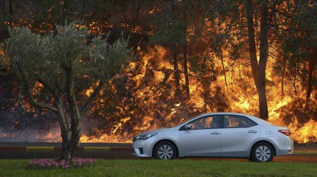 Un coche pasa junto al incendio que comenzó a propagarse cerca de un barrio en la ciudad de Haifa, al norte de Israel,