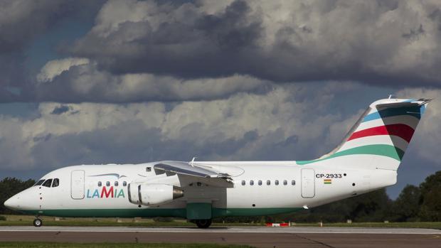 Un avión de la aerolínea LaMia