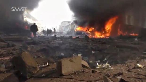 Imágenes de vídeo del camión tras explotar