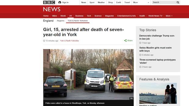 Detenida una adolescente en Reino Unido tras la muerte de una niña de 7 años