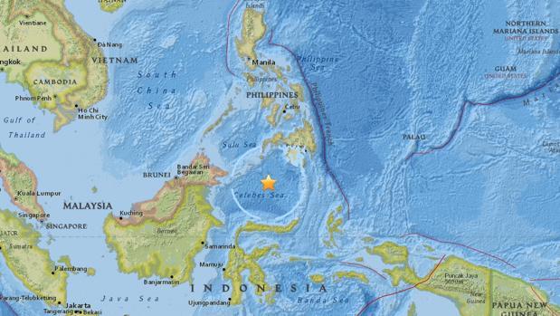 Un terremoto de magnitud 7,2 sacude el mar de Célebes, entre Indonesia y Filipinas