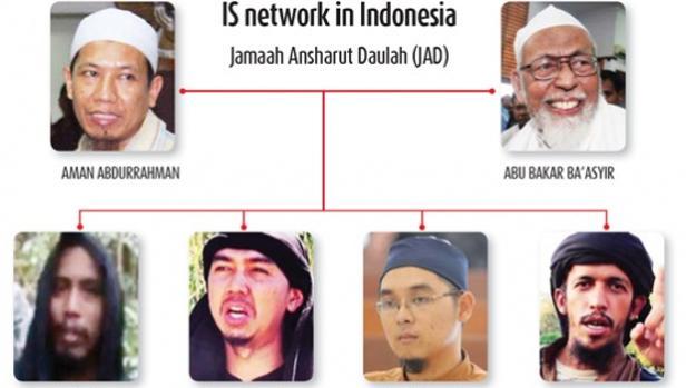 Organigrama de la organización Jamaah Ansharut Daulah