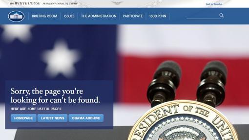 Captura de la nueva apariencia de la web de la Casa Blanca