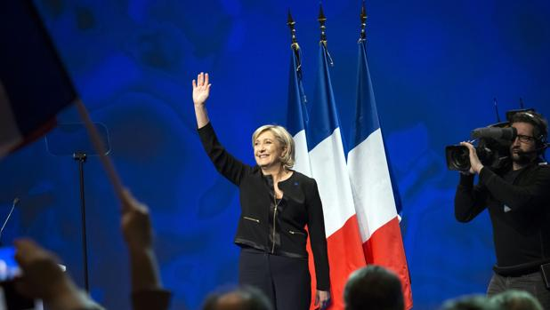 Marine Le Pen en la presentación de su campaña este domingo en Lyon, Francia