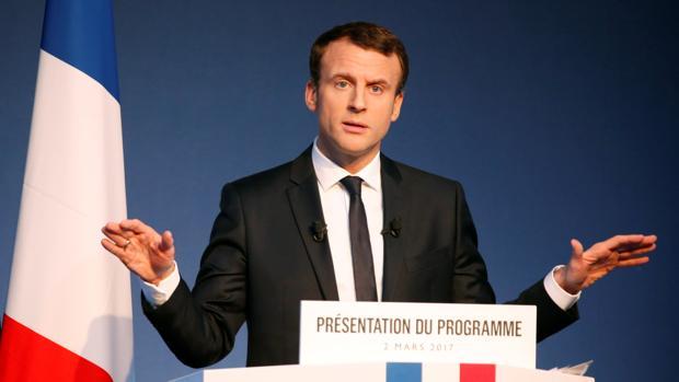 Emmanuel Macron, líder del partido galo En Marcha, en una conferencia este jueves en París