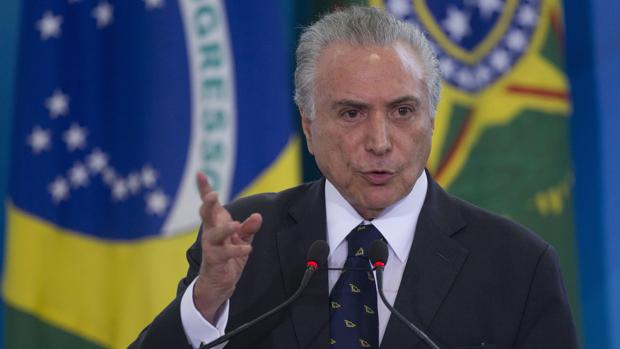 Michel Temer, presidente de Brasil, durante una ceremonia oficial este martes en el Palacio de Planalto, en Brasilia