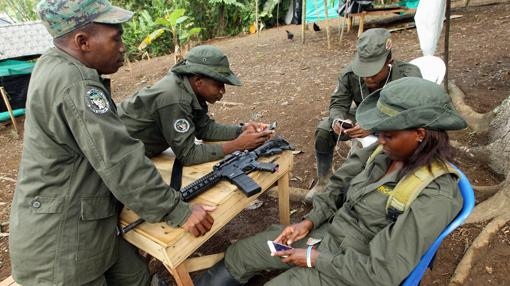 Guerrilleros de las FARC se distraen con sus móviles en el campamento provisional de la vereda La Variante, en Tumaco (Nariño).