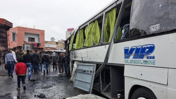 Estado en el que quedó uno de los vehículos utilizados en el ataque