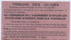 Convocatoria de un debate, presentado por Paul Otlet, titulado: «Tras la llegada de Hitler, los Estados Unidos de Europa son posibles»