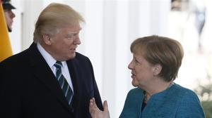 Donald Trump y Angela Merkel, durante la visita de esta a Washington