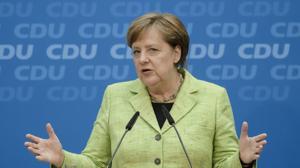 La canciller alemana, Angela Merkel, ofrece una rueda de prensa tras la victoria en El Sarre