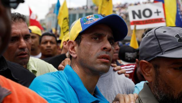 Henrique Capriles, en una manifestación este jueves en Caracas