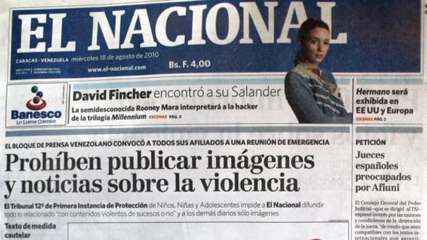 Portada del diario venezolano «El Nacional» del 18 de agosto de 2010, cuando se censuró la publicación de imágenes sobre violencia