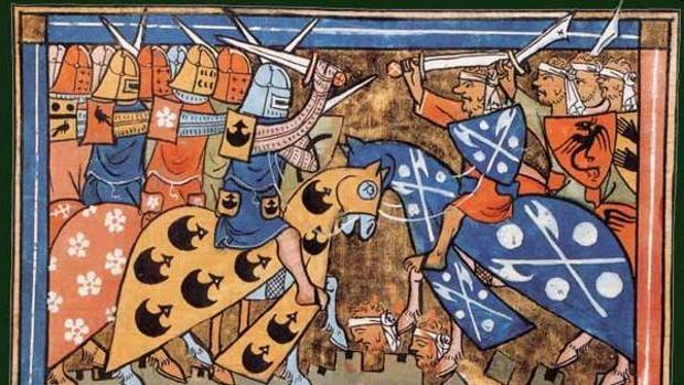 Ilustración del siglo XIV de una batalla de la Segunda Cruzada