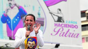 Machado, durante una protesta en Caracas contra Maduro