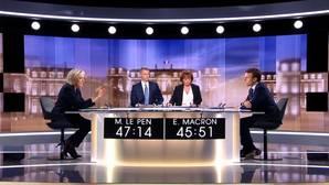 Le Pen y Macron durante en debate televisado