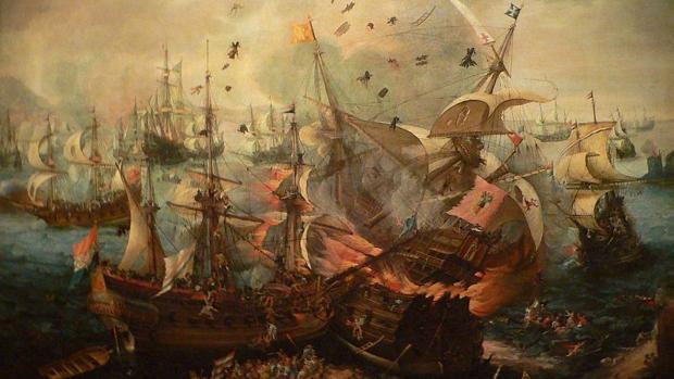 Choque de las Armadas española y holandesa en Gibraltar en 1621, por Cornelis Claesz. van Wieringen