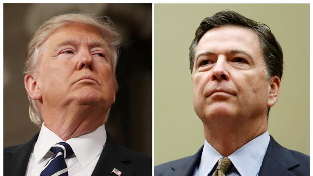 El presidente de EE.UU., Donald Trump, y el hasta el martes director del FBI, James Comey
