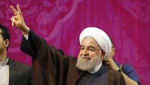 Rohani, en un acto de campaña en Teherán el 9 de mayo