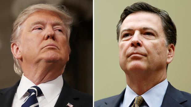Donald Trump, a la izquierda, y James Comey, a la derecha