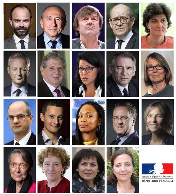 Las caras del nuevo gobierno de Emmanuel Macron (R) y Edouard Philippe, presidente y primer ministro de Francia, respectivamente