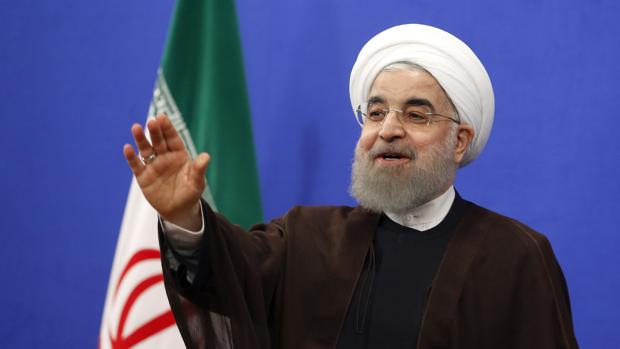 Hasán Rohani, durante un discurso televisado tras su reelección como presidente de Irán