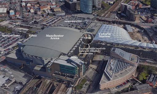 Lugar del atentado de Mánchester. Imagen satelital: Google Earth