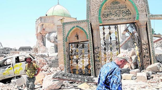Restos de la mezquita Al Nuri, en la ciudad vieja de Mosul