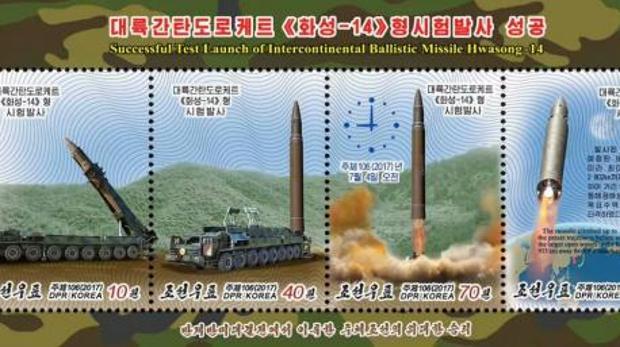 Corea del Norte plasma su nuevo misil en unos sellos conmemorativos