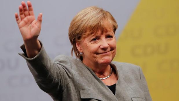 Angela Merkel, durante un mitin electoral, este sábado en Dortmund