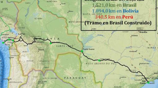 Trayecto del Tren Bioceánico, desde el puerto de Santos (Brasil) al de Ilo (Perú)