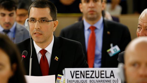El ministro de Asuntos Exteriores de venezuela, Jorge Arreaza, en el Consejo de Derechos Humanos, en Ginebra