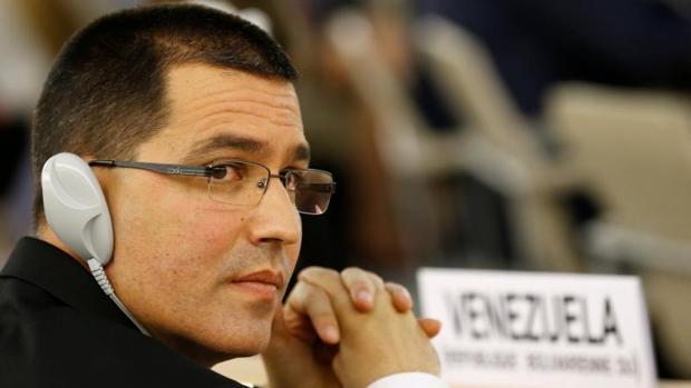 El canciller venezolano, Jorge Arreaza, este lunes en la sede de la ONU en Ginebra