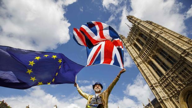 Un manifestante europeísta frente al Parlamento británico