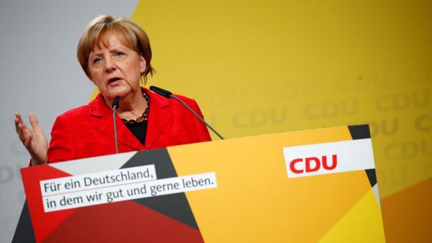 La canciller alemana Angela Merkel durante un acto electoral en Schwerin