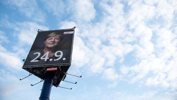 Propaganda electoral del partido de Angela Merkel en Berlín