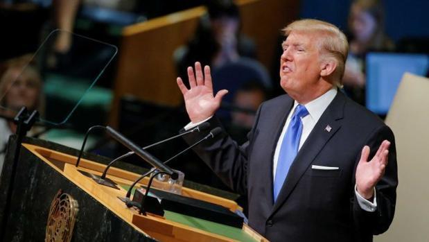 Trump durante su primera intervención ante la Asamblea General de la ONU