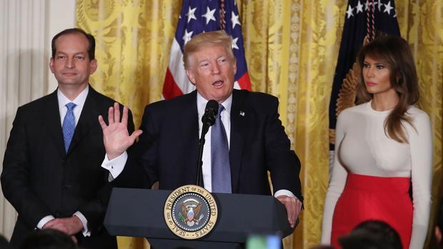 Trump, durante un acto celebrado hoy en la Casa Blanca