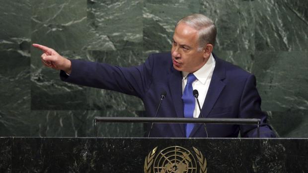 El primer ministro israelí, Benjamin Netanyahu, durante una intervención en la Asamblea de la ONU
