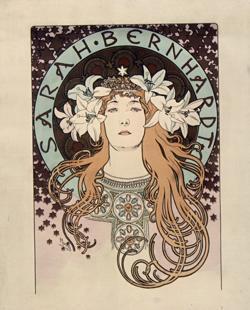 Ilustración de Sarah Bernhardt realizada por Alphonse Mucha en 1896