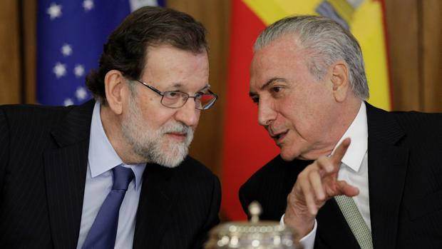 Mariano Rajoy y el presidente brasileño, Michel Temer, en Madrid en el mes de abril
