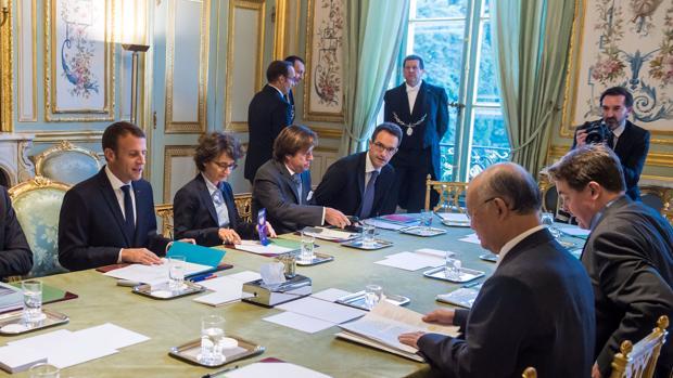 El presidente Macron, en una reunión en El Elíseo